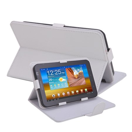 (HDE Universal 7 Inch Tablet Case Leather Folio Cover Multi Angle Stand for RCA Voyager II Voyager Pro (White))