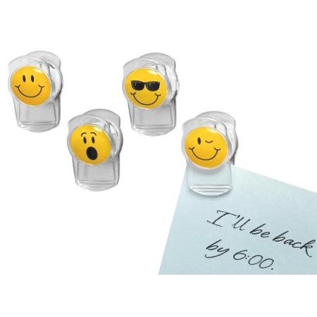 Smiley Face Magnetic Clips -4 Pack