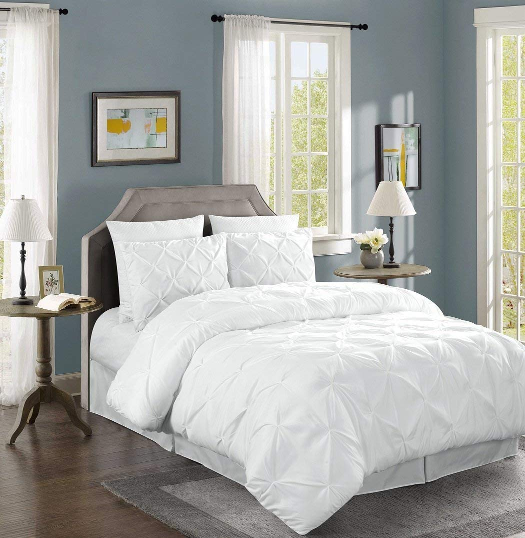 Chezmoi Collection 3-Piece Luxurious Teal Pinch Pleat Comforter Set