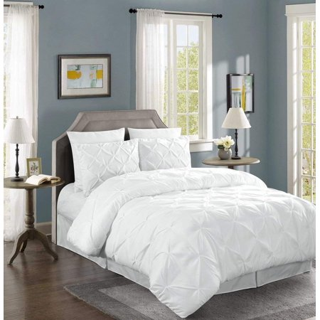 Chezmoi Collection Berlin 3-Piece Pinch Pleated Pintuck Comforter Set ()