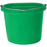 FORTEX-FORTIFLEX 1302043 Heavy-Duty Flat-Back Bucket, 20 qt Volume, Polyethylene Resin, Green