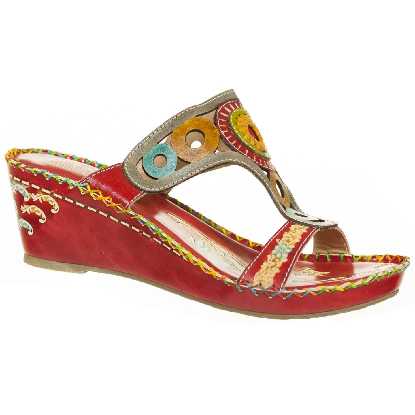 L'Artiste Collection By Spring Step Women's Aztec Sandal Red Multi EU 37 US 7 by Spring Step
