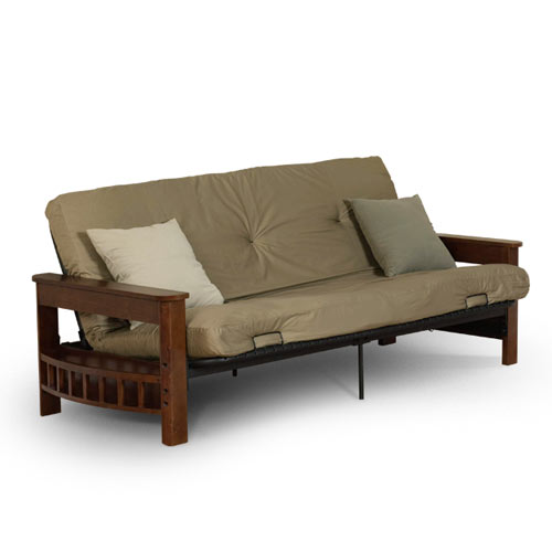 Mainstays Deluxe Wood Futon With Tan Fabric