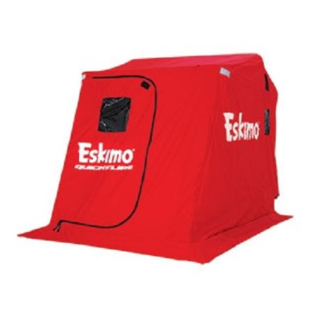 Eskimo QuickFlip 2 Person Flip Up Ice Fishing Shelter w/Versa Top Mounted  Chairs