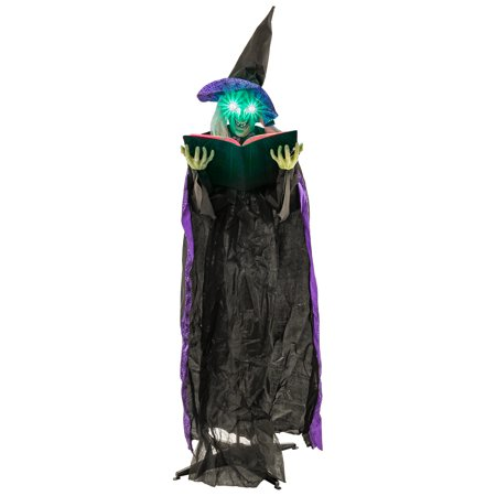 Halloween Haunters 6ft Animated Wicked Witch Spell Casting Book Prop Decoration - Halloween Witch Spell Games