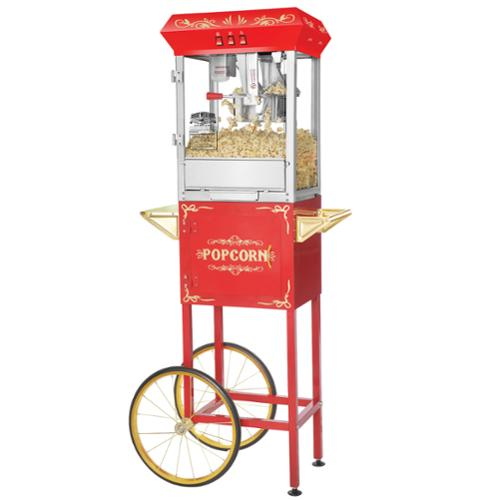 Great Northern Popcorn Red Foundation Popcorn Popper Machine Cart, 8 Ounce