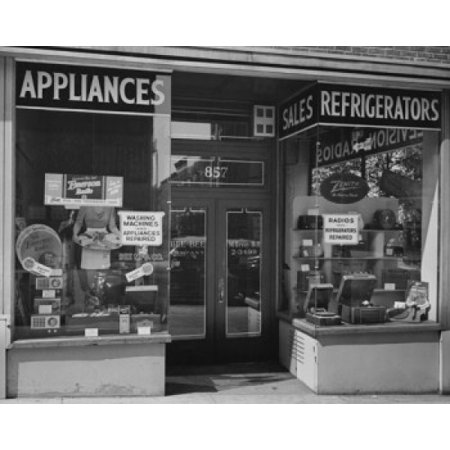 Appliances in a window display of an electronics store Poster (Store Display Poster)