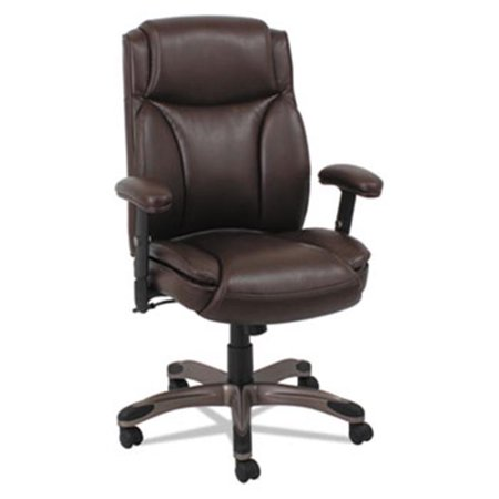 Alera VN5159 Veon Series Leather Mid-Back Managers Chair With Coil Spring Cushioning, Brown Back Spring Club Chair Cushion