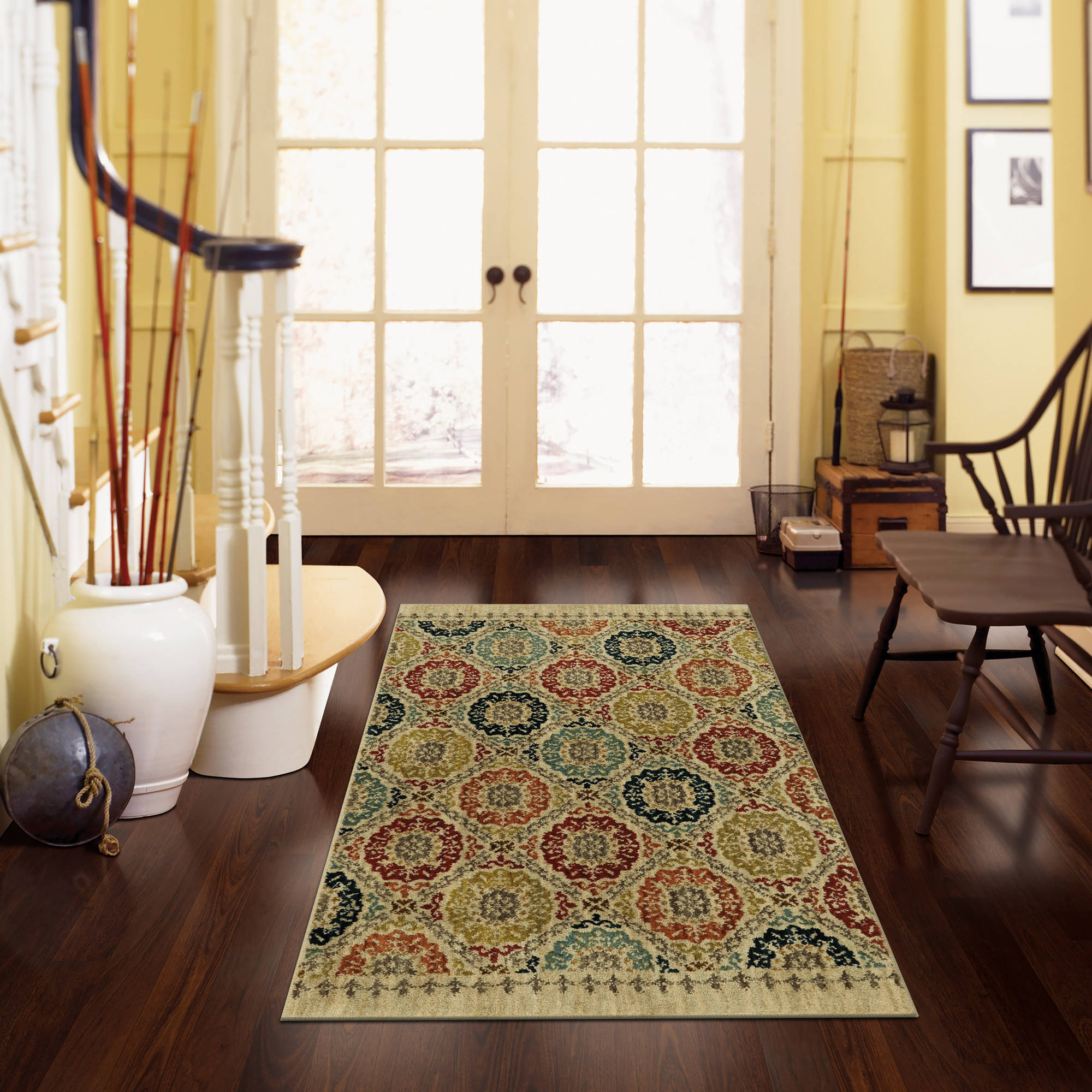 Click here to buy Mohawk Home Lifeguard Floral Medallion Accent Rug by Mohawk Home.