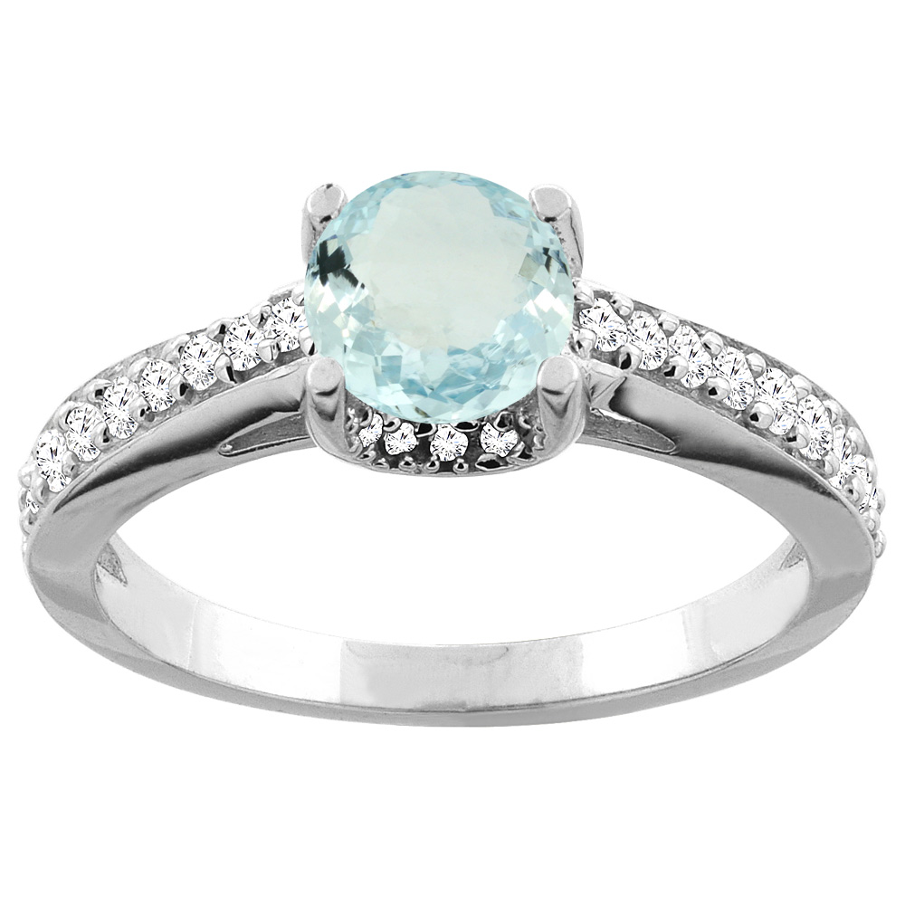 14K White Gold Natural Aquamarine Ring Round 6mm Diamond Accents 1 4 inch wide, size 5 by Gabriella Gold