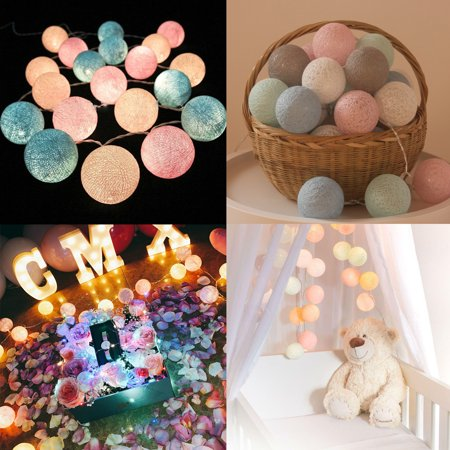 20 Light Ball End (Ball String Lights, 10ft 20 LED Indoor Outdoor Light for Party, Weedings, Christmas Decorative Lighting)