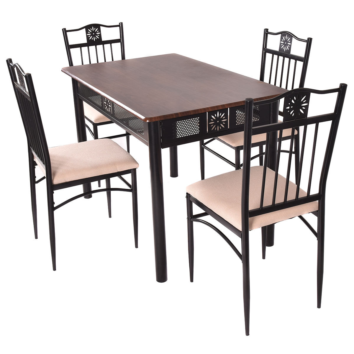 Costway 5 Piece Dining Set Wood Metal Table And 4 Chairs Kitchen Breakfast  Furniture