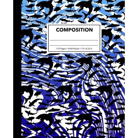 Composition: Marble Shark Composition Notebook for Kids, Cool Marbled Sharks Pattern for Boys, Wide Ruled Book 7.5 X 9.25 In, 110 Pages, Back to School Supplies, for Students and Teachers (10 Classroom Rules For High School Students)