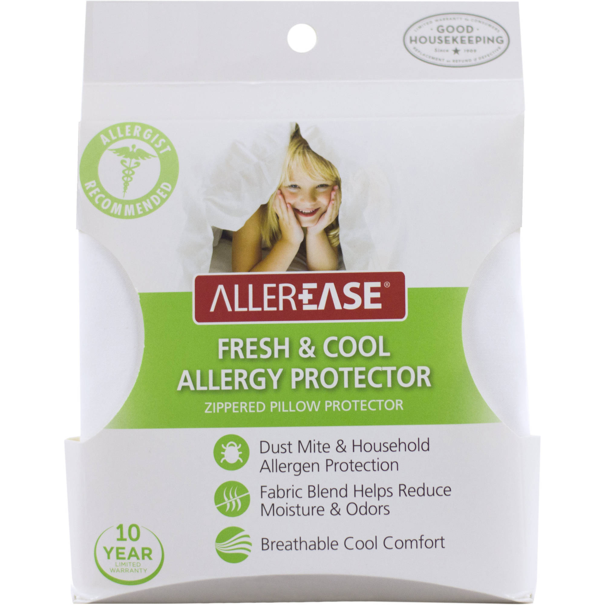 AllerEase Fresh & Cool Allergy Protection Zippered Pillow Cover, Standard Queen by American Textile Company