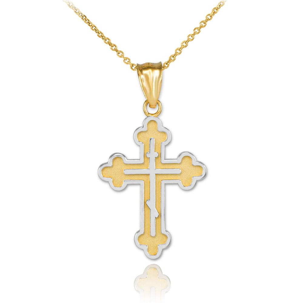 Claddagh Gold Two-Tone Gold Eastern Orthodox Cross Charm ...