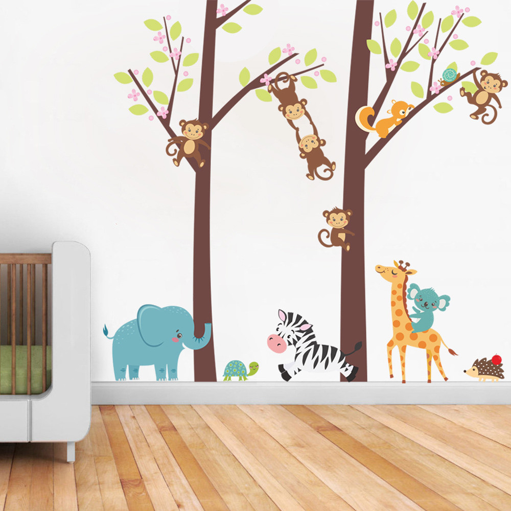 Jungle Animal Tree Kids Baby Nursery Wall Sticker Mural Decor Decal Removable