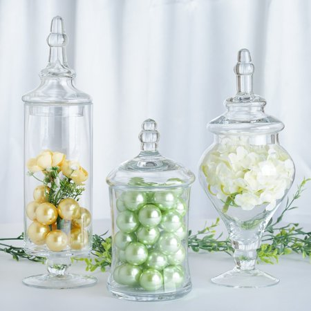 Efavormart Set of 3 Clear Apothecary Glass Candy Jars With Lids - - Candy Jars Cheap
