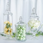 """Efavormart Set of 3 Clear Apothecary Glass Candy Jars With Lids - 9""""/13""""/14"""""""