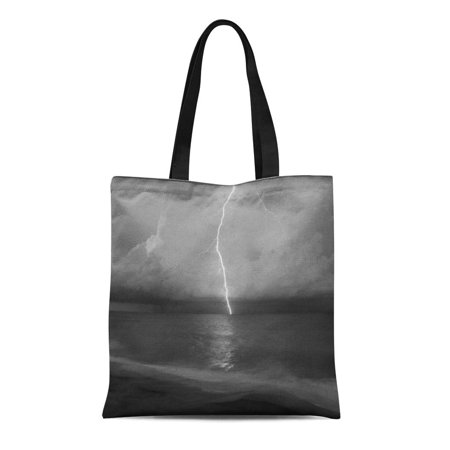 LADDKE Canvas Tote Bag Black Beach Lightning White Bold Thunderstorm Ocean Reusable Handbag Shoulder Grocery Shopping Bags