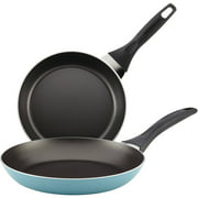 "Farberware 8"" and 10"" Dishwasher Safe Nonstick Twin Pack Skillet Set, Aqua"