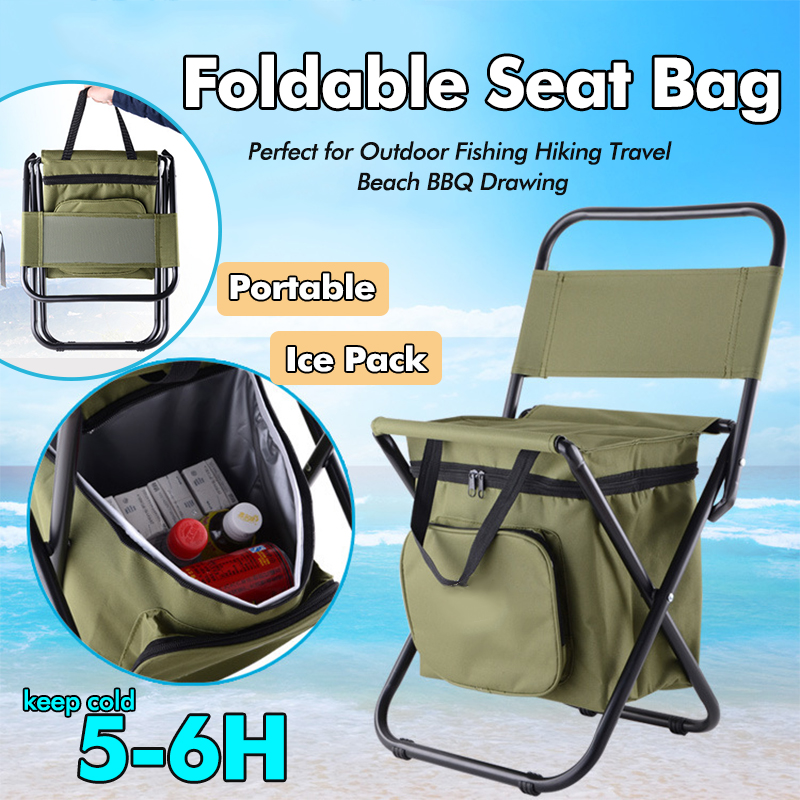 Multifunction Outdoor Insulated Folding Chair With Storage Bags For Camping  Fishing Hiking Travel BBQ Drawing