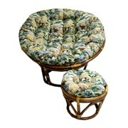 Button Tufted Single Papasan Cushion (Tapestry Fabric Autumn Harvest, 46 in.)