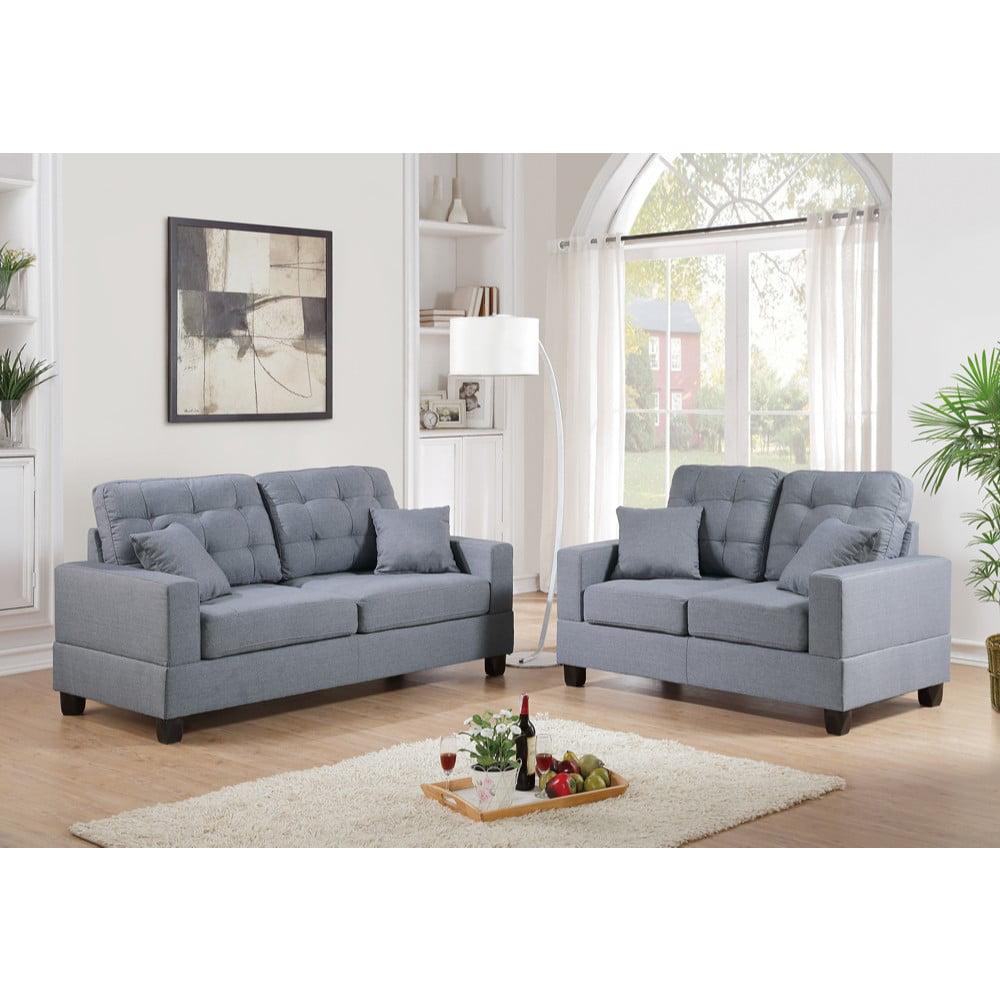 Gracious 2 Pieces Sofa Set With Pillows In Gray