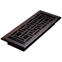 "Decor Grates 4"" x 12"" Steel Plated Rubbed Bronze Finish Oriental Design Floor Register"