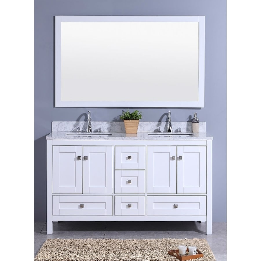 Legion Furniture 61 In. Bathroom Vanity In White With Marble Top And Mirror