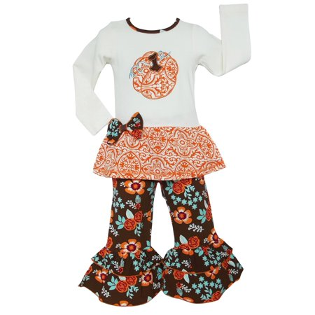 Cute Thanksgiving Outfits For Women (Ann Loren AnnLoren Girls Pumpkin Patch Autumn Floral Thanksgiving)