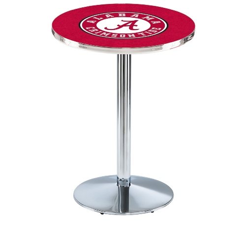 NCAA Pub Table by Holland Bar Stool, Chrome - University of Alabama A, 36'' - L214