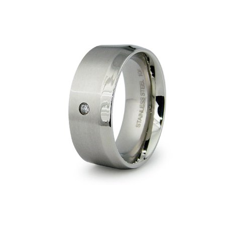 Stainless Steel Single Sided Beveled Edge Cubic Zirconia Wedding Band Ring