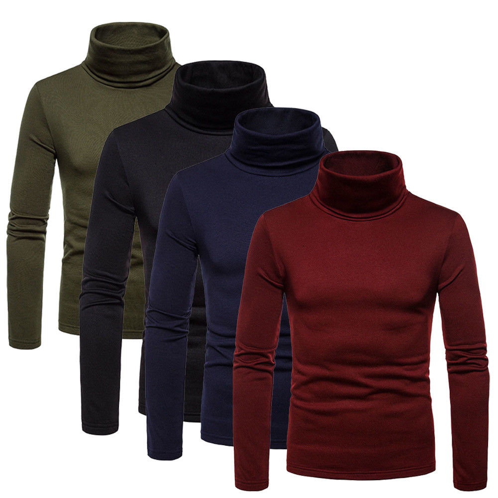 Fashion Mens Roll Turtleneck Pullover Jumper Tops Sweater Slim Shirts Warm Winter Clothes