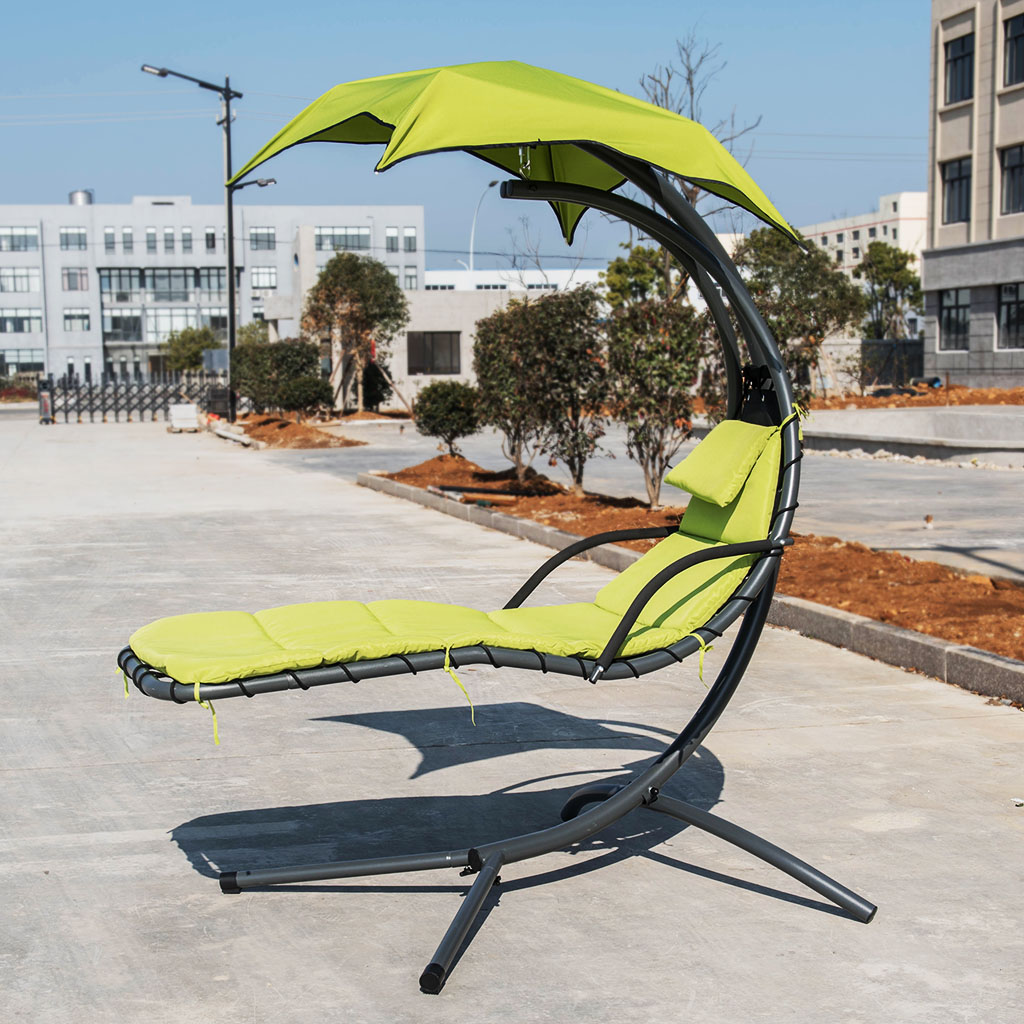 Finether Hanging Chaise Lounge Chair Outdoor Indoor Hammock Chair Swing With Arc Stand Canopy And Cushion For Patio Beach Bedroom Yard Garden Nail