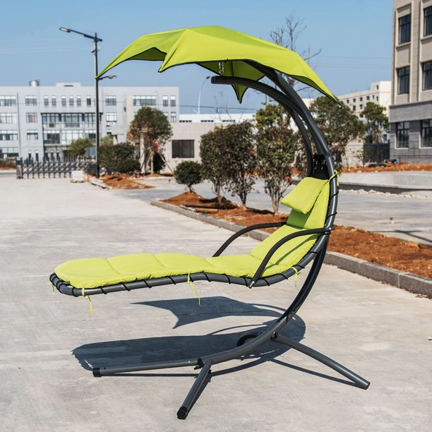 Finether Hanging Chaise Lounge Chair Outdoor Indoor Hammock Chair Swing With Arc Stand Canopy