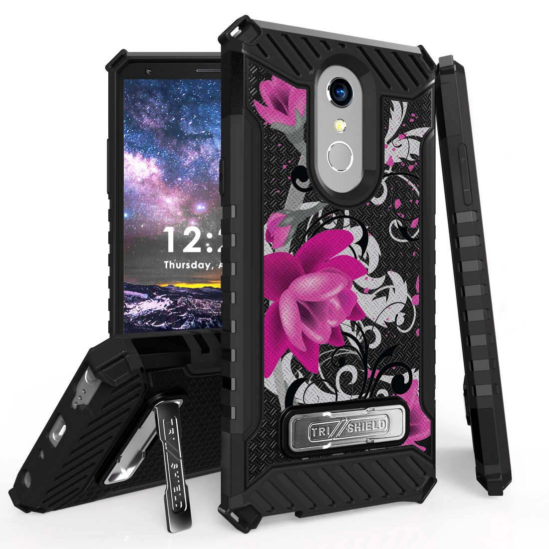 Beyond Cell Rugged Military Grade Drop Tested [MIL-STD 810G-516.6] Kickstand Cover Case and Atom Cloth for LG Stylo 4+ Plus/LG Stylo 4 (2018) - Magenta Flower