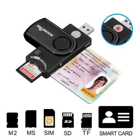 Smart Card Reader DOD Military USB Smart Card Reader / CAC Common Access Card Reader Writer for SD micro SD M2 MS (Dod Cac Reader)