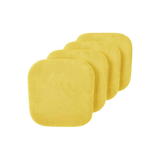 4 Pack Premium Comfort Non Slip Memory Foam Kitchen Dining Room Seat Chair Cushions Yellow Walmart Com Walmart Com