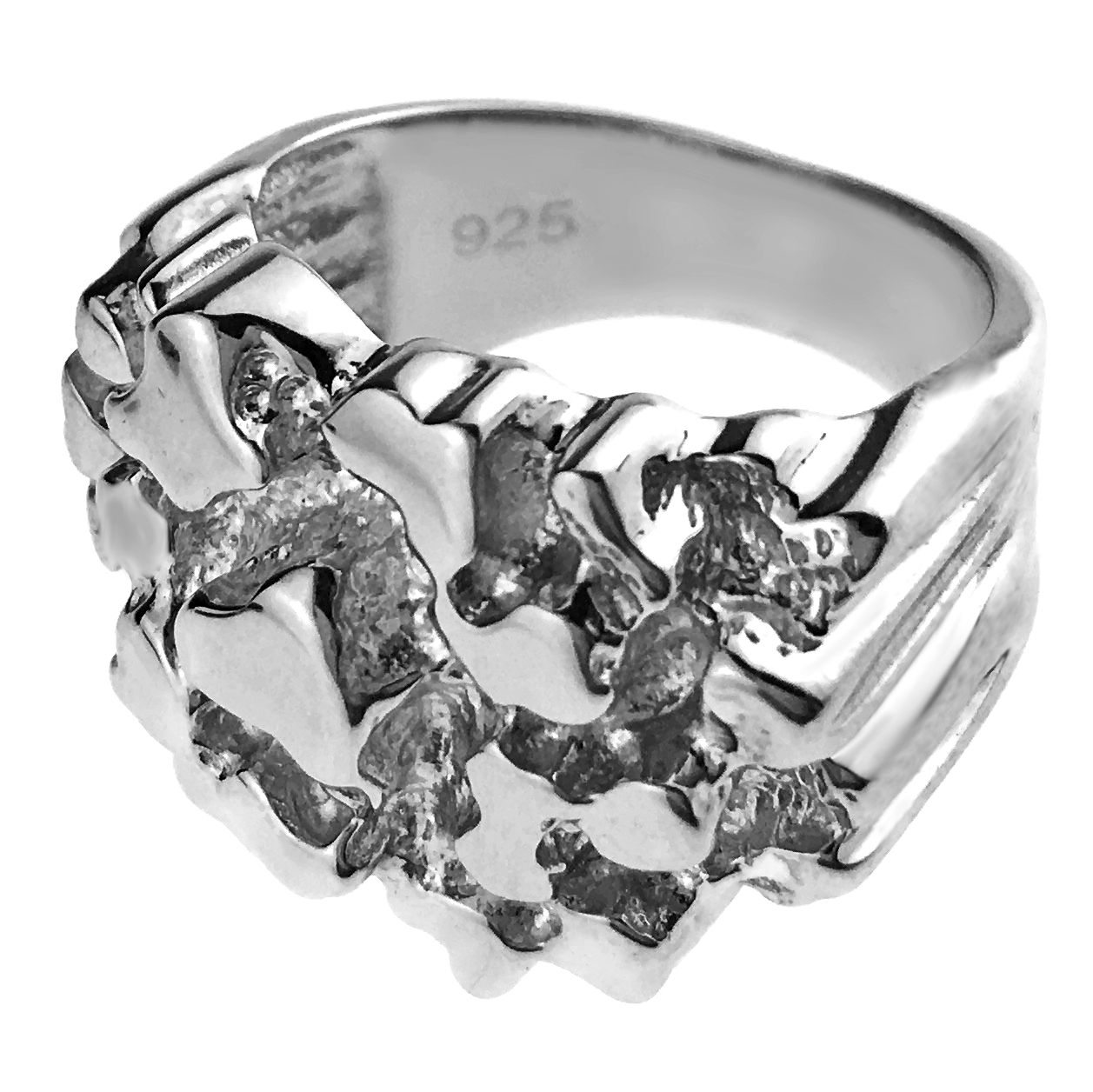 925 Sterling Silver Solid Nugget Ring Sizes 9-12