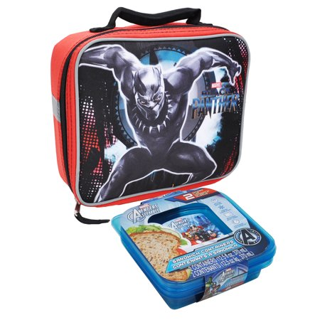 Boys Black Panther Lunch Bag Insulated & Avenger Sandwich -