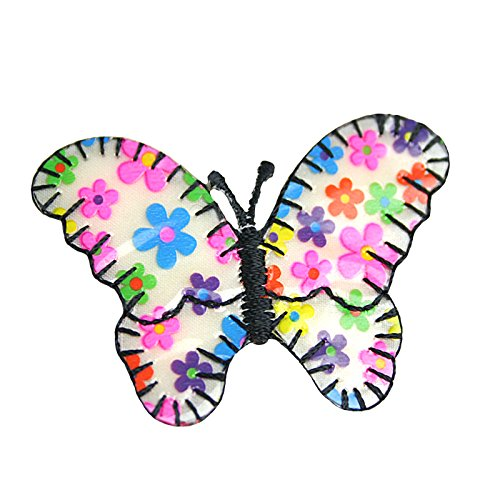 """Altotux 2.5"""" X 1.5"""" Flower Butterfly Self Adhesive Embroidered Iron On Applique Sticker Patch ( 2 pieces)"""