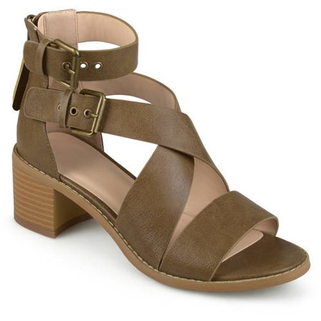(Brinley Co. Womens Stacked Wood Heel Faux Leather Double Ankle Strap Sandals)