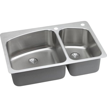 Elkay Double Bowl Sink (Elkay LKHSR2509RPD2R Harmony Stainless Steel Double Bowl Dual-Mount Sink Kit with 2R 2L Faucet Holes)