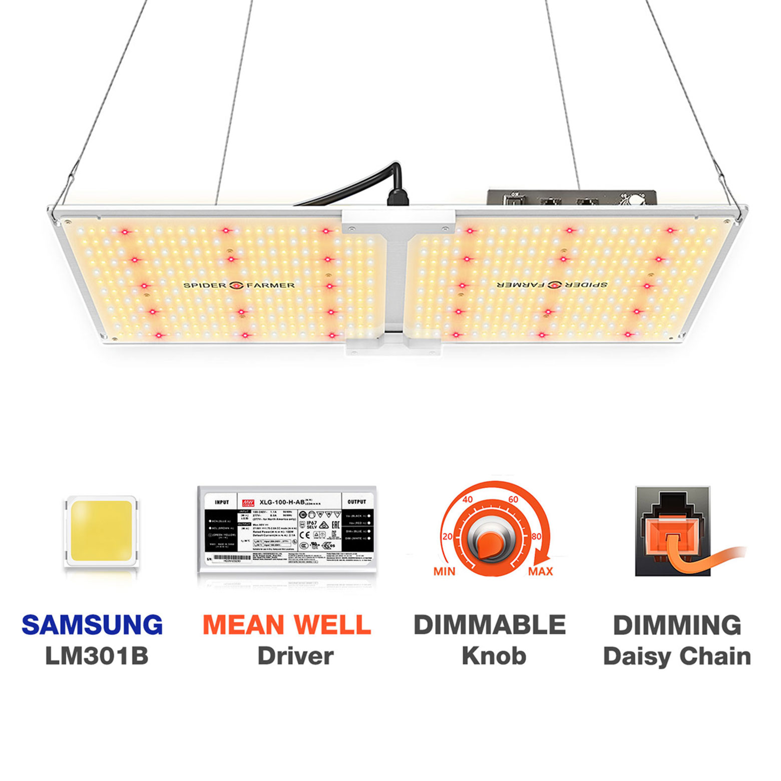Spider Farmer Sf 2000 Led Grow Light 2x4 Ft Flower Compatible With Samsung Lm301b Diodes Meanwell Driver Dimmable Grow Lights Full Spectrum For Indoor Hydroponic Plants Veg Bloom 606pcs Leds Walmart Com