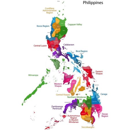 Map of Republic of the Philippines with Eighty Provinces Print Wall Art By  Volina