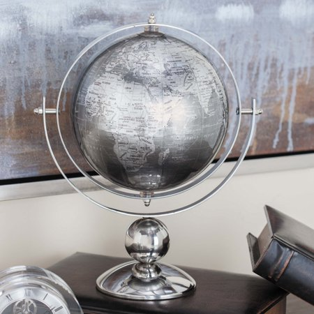 """deco 79 43489 stainless steel and pvc globe decor, 11"""" x 6"""", silver"""