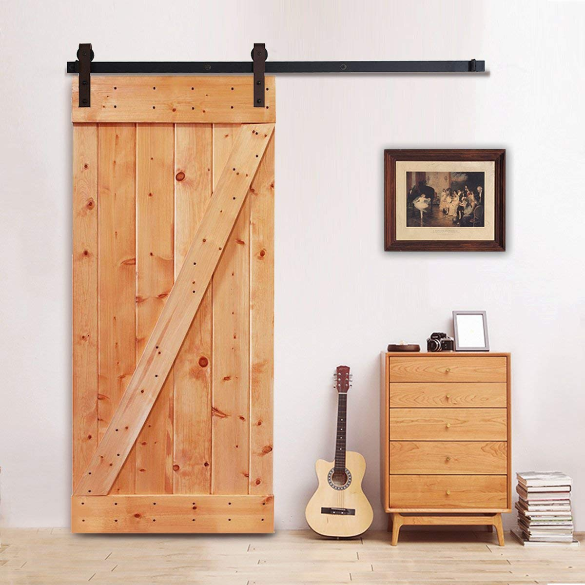 6.6 Feet Sliding Barn Door Hardware Set Superior Quality Track Kit Antique Style One-Piece Rail (Brown)