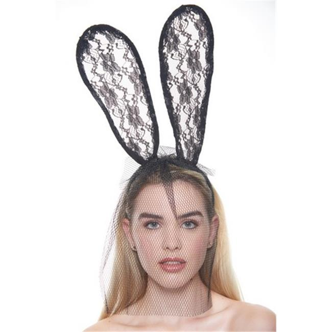 Kayso LL007BK Cute Floral Black Lace Net Veil Mask with Long Bunny Ears