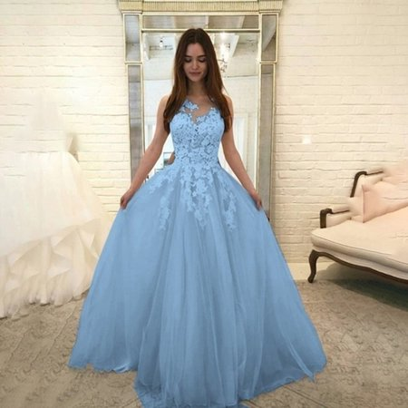 Strapless Chiffon Gown - Women Fashion Floral Lace Wedding Elegant Chiffon Evening Party Dress Ball Gown