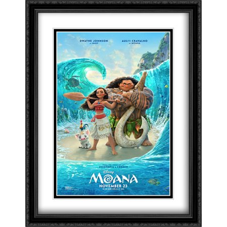 Moana 28X36 Double Matted Large Large Black Ornate Framed Movie Poster Art Print